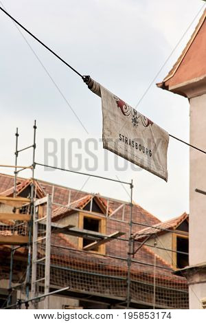 Strasbourg France - June 15 2010: A blanket banner with the inscription