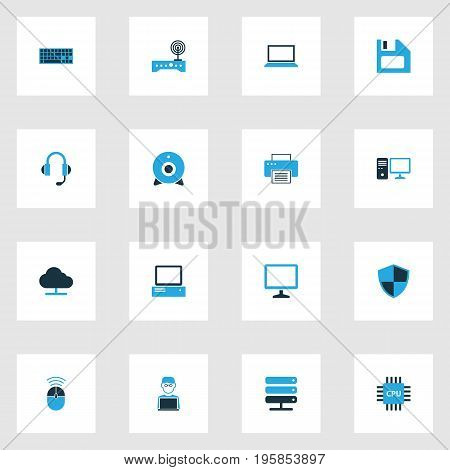 Hardware Colorful Icons Set. Collection Of Earphones, Laptop, Storage And Other Elements