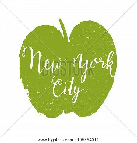 Vector hand-lettering with apple. New York City. This illustration can be used as a print on t shirts and bags, stationary or as a poster.