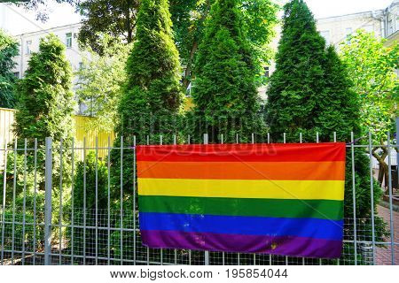 Gay flag on fence outdoors