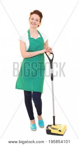 Young woman in green apron on white background. Cleaning service concept