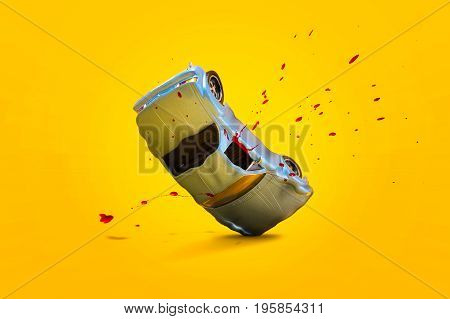 Car accident with damage and Blood splash scene Car crash insurance. Travel Safety Emergency Transport and Accident concept. Isolated on yellow background.