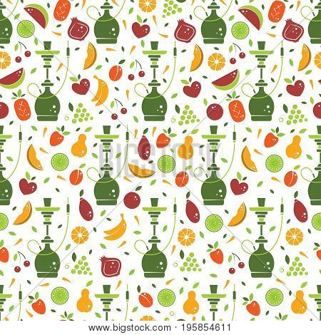 Vector hookah seamless pattern with different fruits and hookah symbols. Vector background in flat style. Perfect for packaging design or menu.