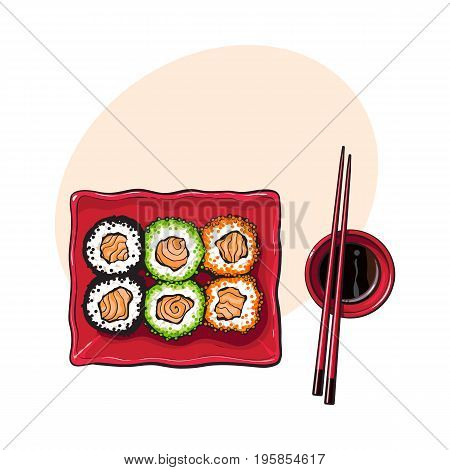 Plate of Japanese sushi, rolls, chosticks and soy sauce bowl, top view hand drawn, sketch style vector illustration with space for tex. Sushi serving plate, chopsticks, soy sauce