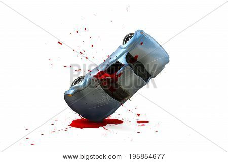 Car accident with damage and Blood splash scene Car crash insurance. Travel Safety Emergency Transport and Accident concept. Isolated on white background.