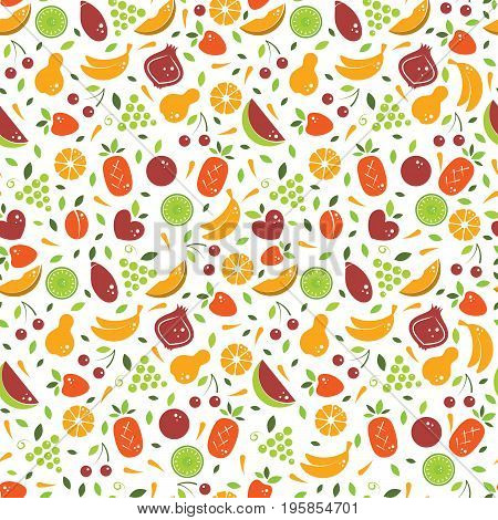 Vector seamless pattern with different fruits . Perfect for restaurant menu backdrop, healthy food concept, juice bar illustration. Vegetarian colorful texture. Great summer tile. Vector background.