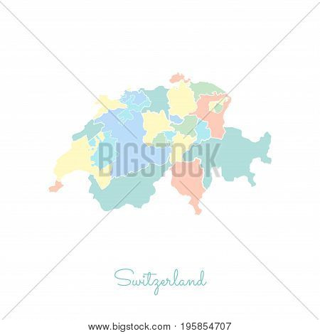 Switzerland Region Map: Colorful With White Outline. Detailed Map Of Switzerland Regions. Vector Ill