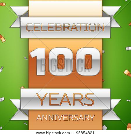 Realistic Hundred Years Anniversary Celebration Design. Silver and golden ribbon, confetti on green background. Colorful Vector template elements for your birthday party. Anniversary ribbon