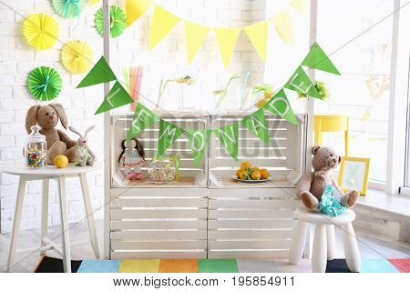 Lemonade stand indoors