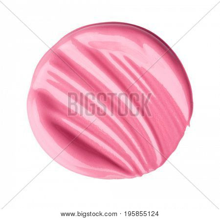 A smear of lipstick. Isolated on white background