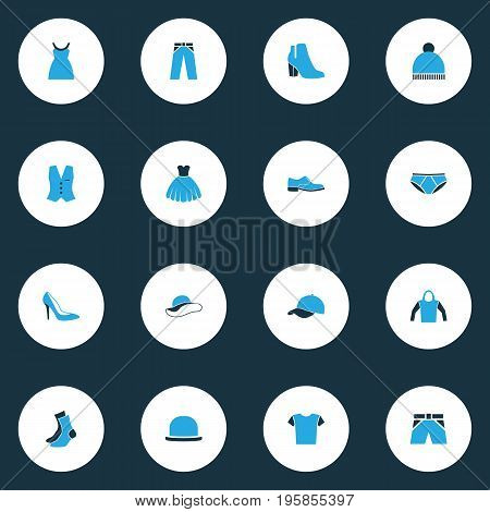 Clothes Colorful Icons Set. Collection Of Beanie, Elegant Headgear, Evening Gown And Other Elements