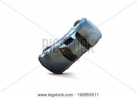 Blue car accident with damage scene Car crash insurance. Travel Safety Transport and Accident concept. Isolated on white background.