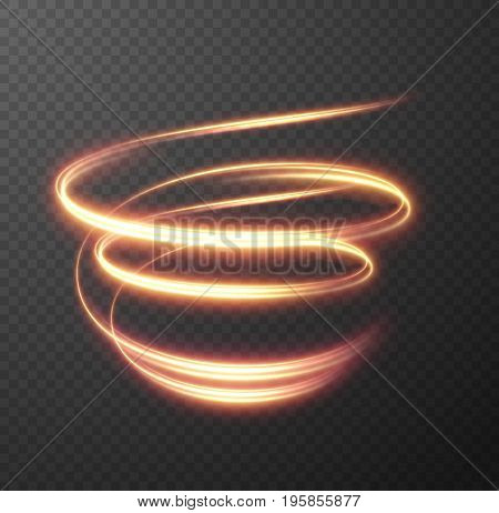 Glowing spiral effect on checkered background. Abstract light speed motion effect. Shiny wavy trail. Light painting. Light trail. Vector eps10.