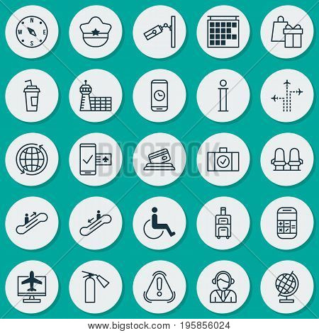 Transportation Icons Set. Collection Of Internet Ticket, Drink Cup, Shopping And Other Elements