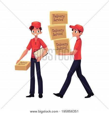 Courier, delivery service worker holding package, carrying pile of boxes, hand cart with boxes, cartoon vector illustration isolated on white background. Full length portrait of young delivery service