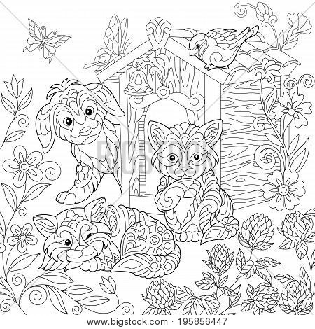 Coloring page of puppy cat sparrow bird dog booth clover flowers and butterflies. Freehand drawing for adult antistress colouring book with doodle and zentangle elements.