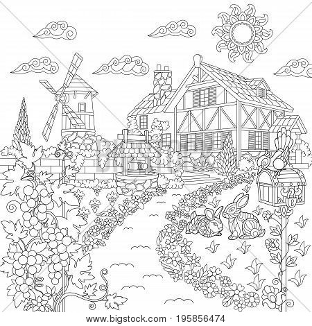 Coloring book page of rural landscape. Farm house windmill water well mail box rabbits bird grape vines. Freehand drawing for adult antistress colouring with doodle and zentangle elements.