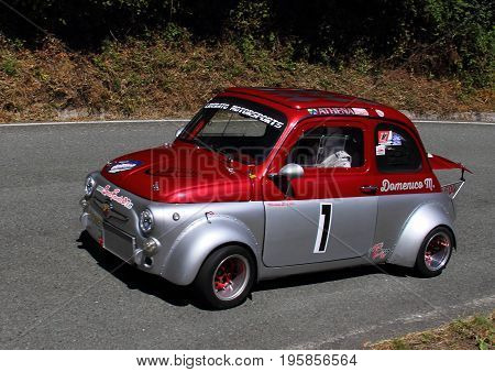 Malvaro Favale Italy - July 16 2017: Uphill Race Race Favale Castello: The Fiat 500 Giannini 650 NP driven by Domenico Mascolo in action on the route.