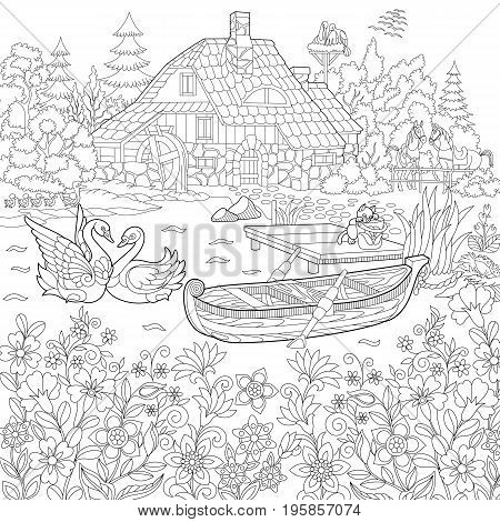 Coloring book page of rural landscape flower meadow lake farm house ducks kitten swans horses frog storks. Freehand drawing for adult antistress colouring with doodle and zentangle elements.