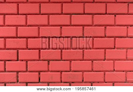 Close up photo of red brick wall background texture