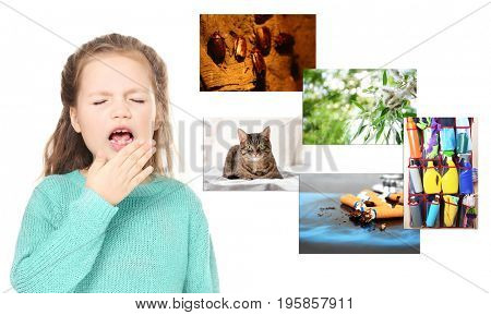 Little girl suffering from allergy and causes on white background. Health care concept