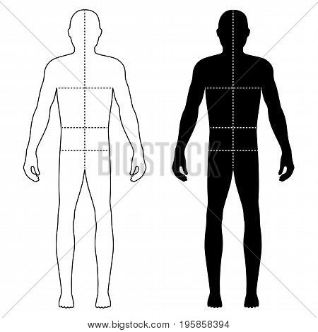 Fashion body full length bald template figure silhouette with marked body's sizes lines  (front view), vector illustration isolated on white background