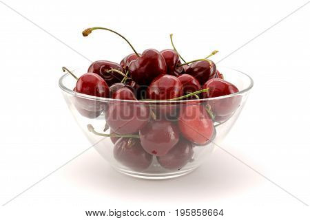 Ripe Red Cherries In Bowl On White