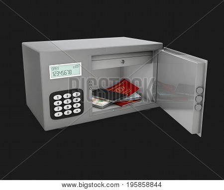 3D Illustration Of Open Safe Door With Passport, Phone And Money.