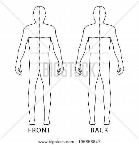 Fashion body full length bald template figure silhouette with marked body's sizes lines (front view) vector illustration isolated on white background