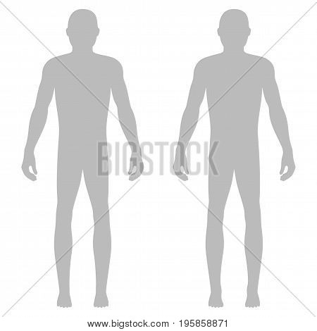 Fashion body full length bald template figure silhouette (front view) vector illustration isolated on white background