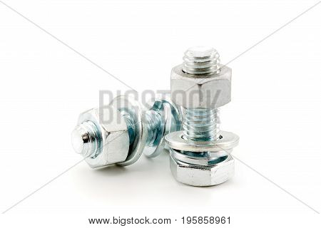 Metal Bolts And Nuts, Isolated