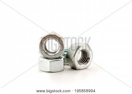 Metal Nuts Closeup.