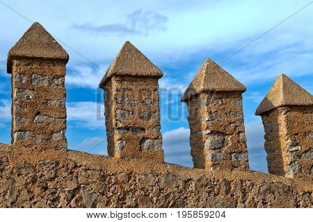 Wall of the ancient fortress overlooking the sky
