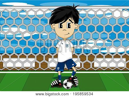 Cute Cartoon Soccer Football Player on Pitch