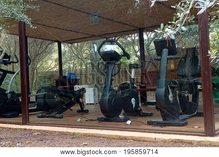 Gym with fitness equipment in the forest through the glass