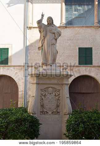 Statue of Christ in the yard of a private house