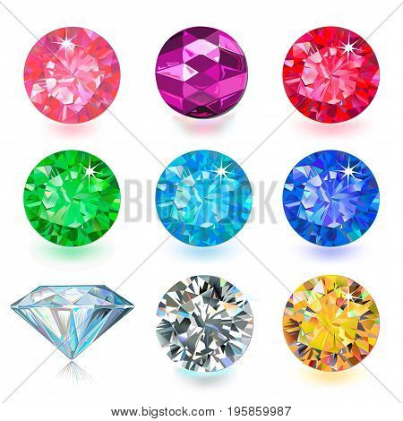 Gemstone bright flatlay set (top side view) isolated on white background vector illustration