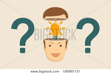 Leadership concept with question marks and Shining lightbulb in the open head on background. Stock flat vector illustration.