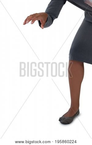 Mid section of businesswomans hand reaching forward