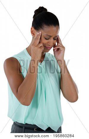 Close-up of businesswoman having an headache