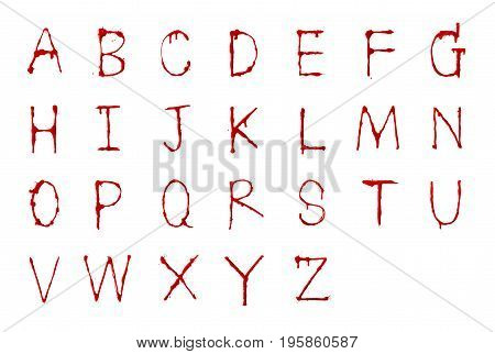 Letters blood written dripping fonts A-Z with clipping path Horror and emergency concept Isolated on white background and clipping path.