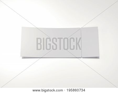 Blank tear-off ticket isolated on white background. 3d rendering