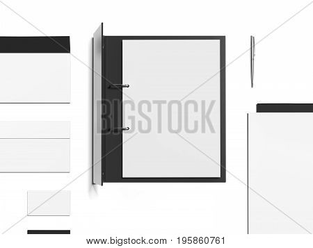 Mockup with black opened folder and blank sheets isolated on white background. 3d rendering