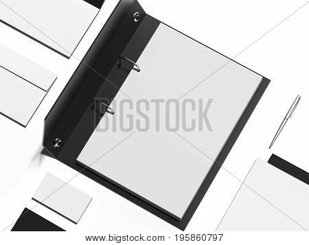Mockup with black opened folder and blank sheets. 3d rendering