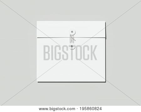 Blank white envelope isolated on gray background. 3d rendering