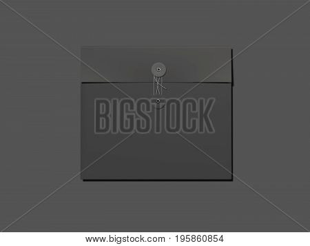 Blank black envelope isolated on gray background. 3d rendering