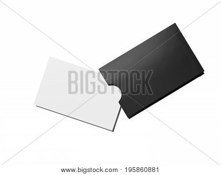 Blank white business card and black cover isolated on bright background. 3d rendering