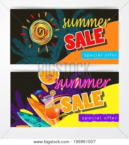 summer sale template banner set vector illustration with sun