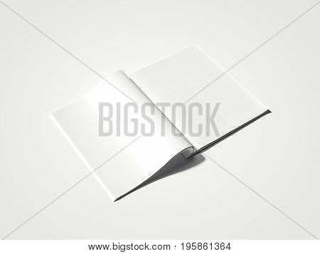 Blank white magazine isolated on bright background. 3d rendering