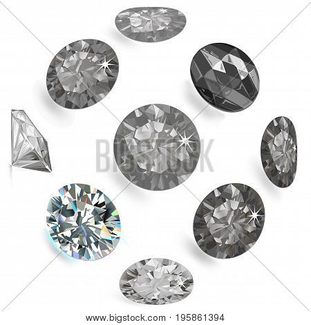 Gemstone grey flatlay set (top side view) isolated on white background vector illustration